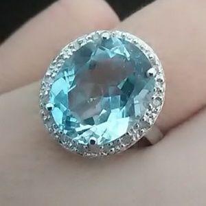 Jewelry - Genuine Blue Topaz and Diamond 925 Silver Ring